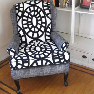 Custom Black And White Upholstered Armchair