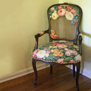 Custom Flower Upholsted Chair