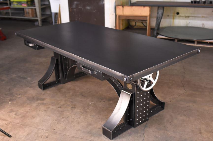 Vintage industrial crank desk