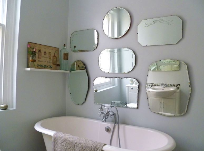 A display of vintage mirrors